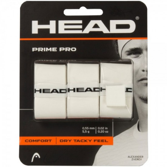 Head Prime Pro OverGrip-White (3 Pack)