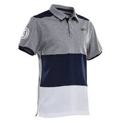 Salming Evergreen Polo-Grey Melage, Navy and White